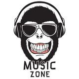 Monkey chimpanzee listening to music through headphones.Prints logo design for t-shirts