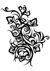 fashionable black and white tattoos in floral style