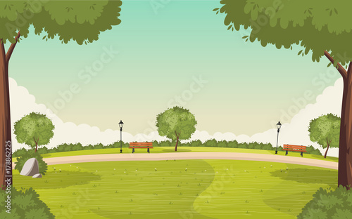 Fotobehang Pistache Colorful green park. Nature background.