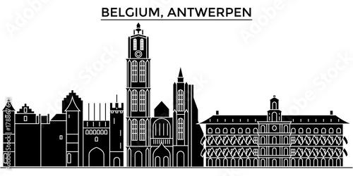 Fotobehang Antwerpen Belgium, Antwerpen architecture skyline, buildings, silhouette, outline landscape, landmarks. Editable strokes. Flat design line banner, vector illustration concept.
