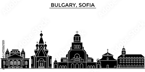 Wall mural Bulgary, Sofia architecture skyline, buildings, silhouette, outline landscape, landmarks. Editable strokes. Flat design line banner, vector illustration concept.