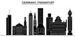 Germany, Frankfurt architecture skyline, buildings, silhouette, outline landscape, landmarks. Editable strokes. Flat design line banner, vector illustration concept.