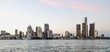 Detroit City Skyline at dusk as viewed from Windsor, Ontario, Canada.