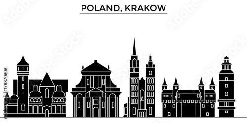 Poland, Krakow architecture skyline, buildings, silhouette, outline landscape, landmarks. Editable strokes. Flat design line banner, vector illustration concept.