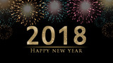 2018 New Year's eve illustration, card with colorful fireworks, glitter 2018 and bright, golden Happy New Year text on black background  - 178871002