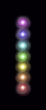 Just a single column of the Seven Spinning Major Chakras - magenta, indigo, blue, green, yellow, orange and red spiraling vortexes of energy in a neat vertical row on a rich black background  - 178871405