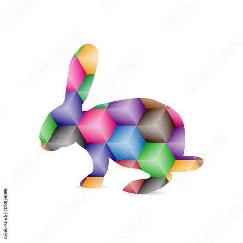 Fototapeta Silhouette of hare with colorful polygonal background.