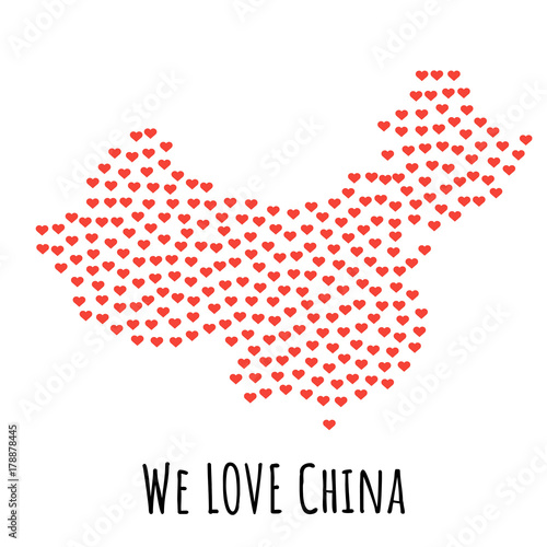 China Map with red hearts - symbol of love. abstract background - 178878445