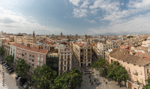 Panoramic aerial view old town of Valencia, Spain, Micalet, the belfry of the Cathedral, at background