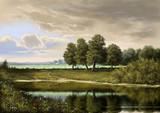 Paintings landscape, oil digital paint, art, river, trees, sky