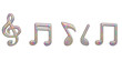 Creative music note isolated on white background.3D illustration.