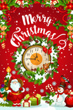 Christmas Or New Year Midnight Clock Greeting Card Wall Sticker
