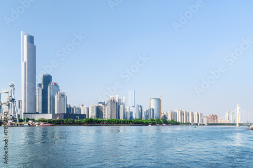 Guangzhou skyline, China. The Pearl River and modern buildings