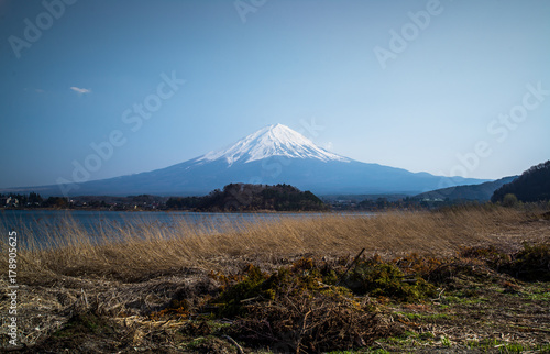 Mt. Fuji (Fujisan) behind the lake, Volcano in Japan Poster