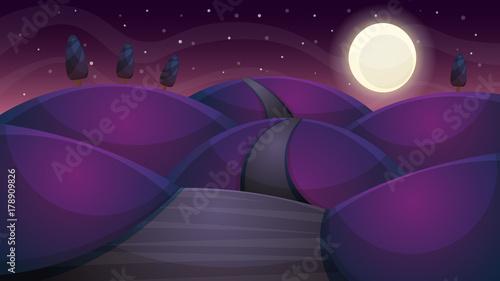 Foto op Canvas Violet Travel night cartoon landscape. Fir, comet, star, moon road illustration Vector eps 10