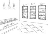 Jewelry shop graphic black white interior sketch illustration vector - 178912622