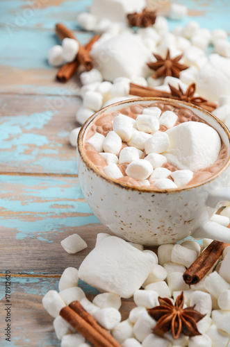 Tuinposter Chocolade Hot Chocolate, White Marshmallows and Winter Spices on Blue Wooden Background