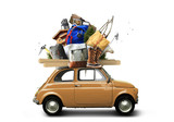 Adventure and tourism, small car with tourist equipment - 178914634