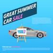 Car sale banner. Vector illustration with cartoon-style car. Gray sedan on blue background