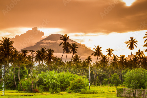 Tuinposter Bali Agung Volcano seen from Amed, in East Bali.