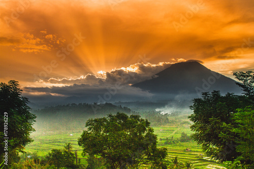 Foto op Canvas Bali Agung Volcano seen from Amed, in East Bali.