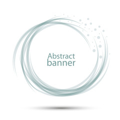 Banner abstract round vector transparent gray-blue