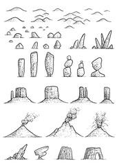 Map elements illustration, drawing, engraving, ink, line art, vector © jenesesimre