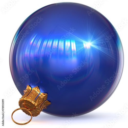 Poster Christmas ball blue decoration Happy New Year's Eve bauble hanging adornment Merry Xmas wintertime ornament closeup