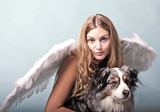 Merry Christmas: Beautiful female blonde Angel with her Christmas dog :) - 178937639