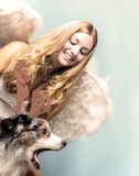 Merry Christmas: Beautiful female blonde Angel with her Christmas dog :) - 178937861