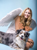 Merry Christmas: Beautiful female blonde Angel with her Christmas dog :) - 178938004