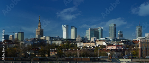 Foto op Aluminium New York Panorama of Warsaw with new skyscrapers and Palace of Culture and Science