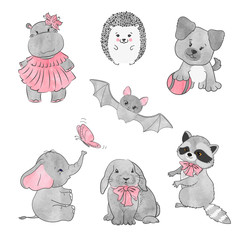 Set of cute little animals. Vector illustration.