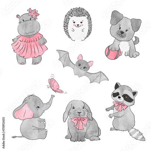 Set of cute little animals. Vector illustration.