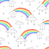 Seamless pattern with cartoon rainbows and clouds. Colorful vector sky background.