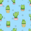 Cute cartoon cactus cat pattern. Vector seamless background. - 178954049