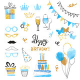 Birthday party icon set in blue, black and golden colors. Vector hand drawn illustration - 178954036
