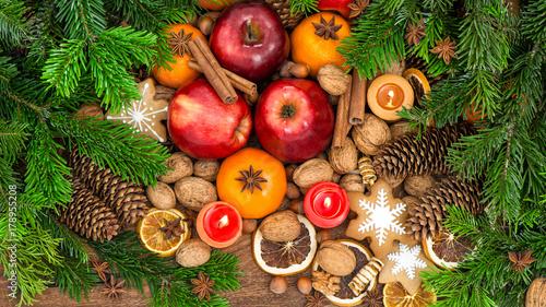 Fridge magnet Apples tangerine fruits walnuts cookies food background