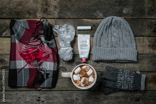 Foto op Canvas Chocolade Selection of essentials for cold winter weather