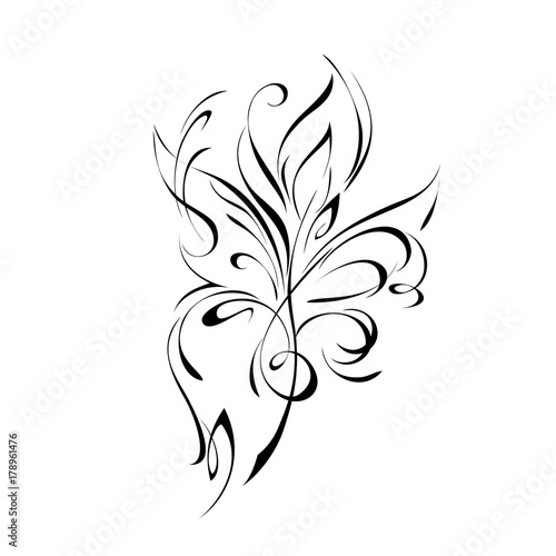ornament 164. abstract floral ornament in black lines on a white background