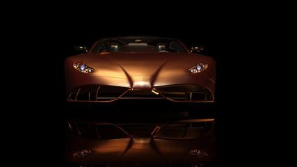 Goldener Sportwagen im Studiolicht
