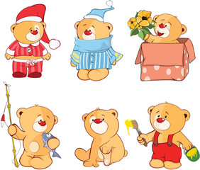 Illustration of a set of Stuffed Bears. Cartoon Character