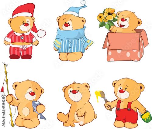 Papiers peints Chambre bébé Illustration of a set of Stuffed Bears. Cartoon Character