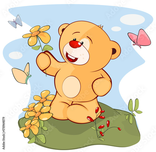 Papiers peints Chambre bébé Illustration of a Stuffed Toy Bear Cub. Cartoon Character