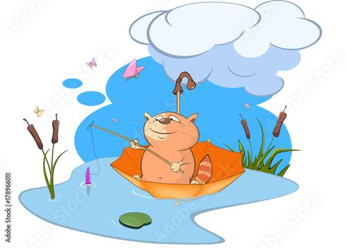 Papiers peints Chambre bébé Illustration of a Cute Cat Fisherman. Cartoon Character