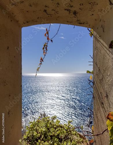View of the Ligurian Sea Through a Window, Genoa, Italy Poster