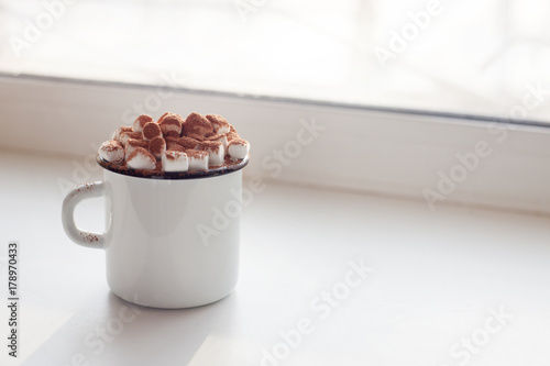 Foto op Canvas Chocolade Cocoa with marshmallow close-up on a white background. Winter drink. A sweet drink, copy space