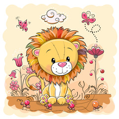 Cute Cartoon Lion on a meadow