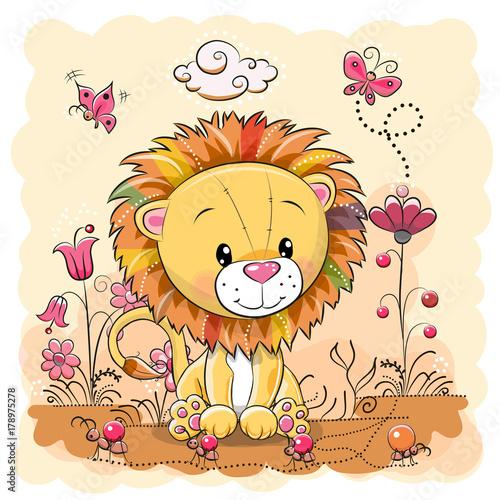 Obraz Cute Cartoon Lion on a meadow