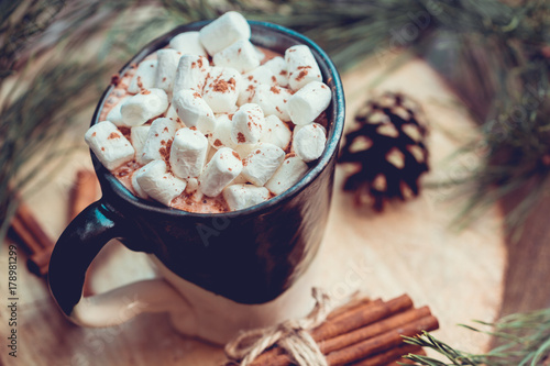 Foto op Canvas Chocolade New Year and Christmas concept. Hot chocolate with marshmallow in a clay black and white mug on an old wooden board decorated with spruce branches and cinnamon sticks.